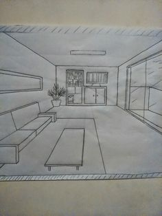 puntos de fuga 1 Point Perspective, Perspective Drawing, Hand Sketch, My Works, Diy Art, Architecture Design, Art Drawings, Floor Plans, Sketches