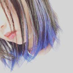 WEBSTA @ ti_ro_l0921 - 予想以上に綺麗に青が入ってくれて良い#夏休み #カラー #ブルー #ブラック #インナーカラー #派手髪…