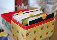 Joyfully Made Designs: Organization: box for Mats, Die cuts, stamped blank Imagessa, stamped finished images
