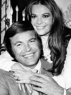 """Actors Robert Wagner and Natalie Wood pose at the Dorchester Hotel in London, England, April 23, 1972. The couple first married in 1957 and divorced in 1962. They remarried in 1972 on their yacht """"Splendour"""" and were together until Wood's untimely death after falling off their yacht in 1981. They had one daughter together, and each had a daughter from previous marriages."""