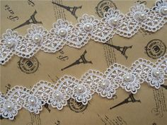 1yd Vintage Flower Pearl Lace Edge Trim Ribbon Applique Embroidered Sewing Craft #Unbranded