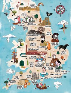 Literary England Interactive Map by VisitEngland gorgeous map Literary Heroes, Literary Travel, Map Of Britain, Visit Britain, England Map, Visit England, London England, Canterbury Tales, Interactive Map
