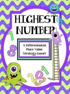 Freebie!! Place Value Strategy Game - Differentiated! 'Highest Number' is a fun strategy game that reinforces understanding of Place Value. It can be played as a whole class or within groups!