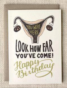 Birthday Card Uterus by witandwhistle on Etsy Birthday Cards For Friends, Bday Cards, Happy Birthday Quotes, Birthday Messages, Funny Birthday Cards, Birthday Greetings, Happy Birthday Wishes, Birthday Memes, Funny Happy Birthday Meme