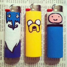PACK OF 3 - Adventure Time Custom Hand Painted Bic Lighters