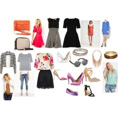 This spring wardrobe board features on-trend spring dresses, a skater skirt, a spring floral blouse, boyfriend jeans, a white jacket, a striped jacket, white pumps, strappy sandals with block heels and a shoe in radiant orchid, bags with tassel detail, accessories and more shoes - all key trends for spring/summer.