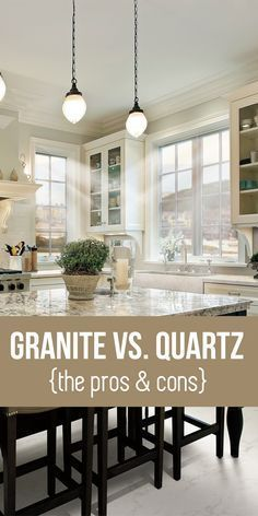 Quartz Countertops: Learn the pros and cons for your next kitchen de. Quartz Countertops: Learn the pros and cons for your next kitchen design project! Kitchen Redo, New Kitchen, Kitchen Ideas, Space Kitchen, Kitchen Small, Kitchen Colors, Kitchen Designs, Kitchen Countertop Materials, Quartz Kitchen Countertops