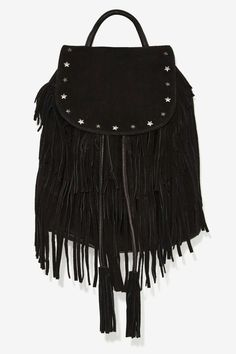 Maison Scotch So Cosmic Suede Fringe Backpack