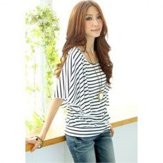 $6.28 Relaxed Stripe Print Lotus Leaf Sleeve T-Shirt For Women
