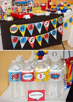 {Comic Inspired} Kids Superhero Party Ideas - more super hero lollipops & wonder water!