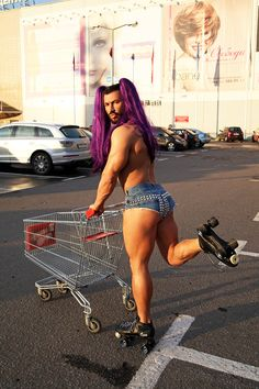 She really knows how to work a shopping cart.
