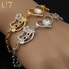 U7 Crystal Hello Kitty Bracelets 18K Real Gold/Platinum Plated Chain Charm…