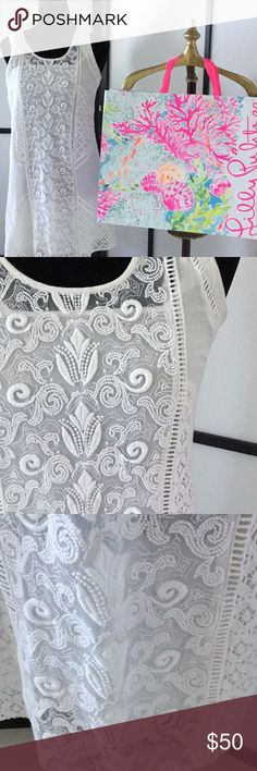 Lilly Pulitzer white lace dress Lilly Pulitzer lace dress sleeveless gauze material Lilly Pulitzer Dresses