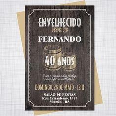 Convite 30-40-50-60-70-80-90 anos Jack Honey, 40 Years, 40th Birthday, Save The Date, Birthday Invitations, Chalkboard, Decoration, Birthdays, 30
