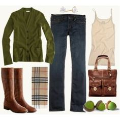 """burberry scarf... however, a """"real"""" one is like 400.00!  But I love the green sweater w/ it and the brown boots!  Gotta get me some brown riding boots ASAP!"""