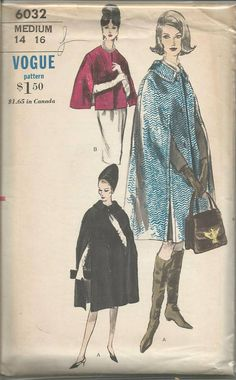 1960s Cape Pattern Two Lengths Day Evening Collar and Closing