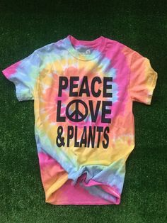 NOTE :Since this is tie dyed there are variation in color. Images Of Peace, Hippie T Shirts, Tie Dyed, Peace And Love, Plants, Mens Tops, Clothes, Color, Vegan