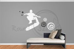 Skateboard Decal With Swirls  For Walls Decorative by Round321, $75.00