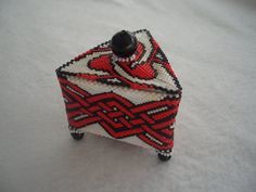 Hand Stitched Red Knot Triangle Beaded Box by AcadianGlassArt