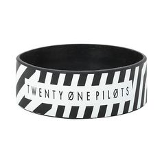 Twenty One Pilots Stripe Rubber Bracelet Hot Topic ($5.62) ❤ liked on Polyvore featuring jewelry, bracelets, kohl jewelry, rubber jewelry, black rubber bracelet, rubber bracelet and bracelet bangle