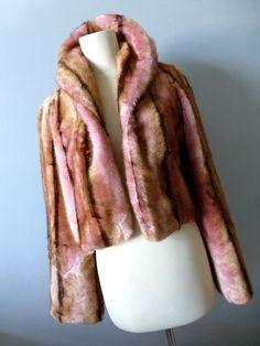 Faux Fur Designer Bolero Short Coat - Jeff Gallano - Small - 90's Pink Faux Fur  Jacket -Vintage Fashion -Retro Glam