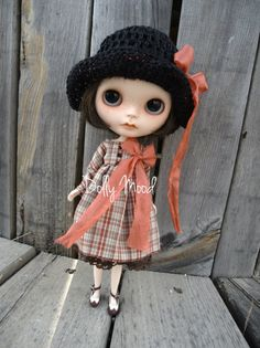 Made to order: Dress for blythe, pullip and similar dolls with silk ribbon and chocolate petticoat