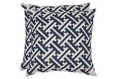 One Kings Lane - Color Your World - Set of 2 Avery Pillows, Indigo