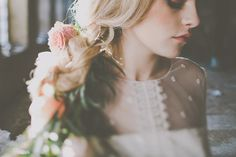 Pink Lips, flowers in her hair, delicate lace - Image by James Melia - Bohemian Bride Inspired Wedding Shoot At The Arches Dean Clough Halifax With Rustic Wild Flowers And Delicious Food From Eat Me Drink Me With Images From James Melia Photographers