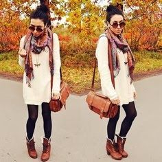 Adorable long sweater, scarf,shoes and legging | Fashion World