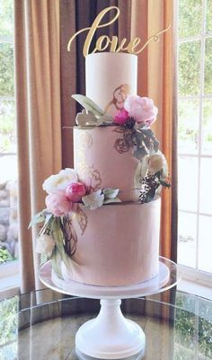 Rustic chic three tier pink wedding cake; Featured Cake: Hey-There Cupcake!