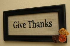 Give Thanks Autumn Burlap Sign
