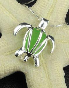 Turtle Jewelry GENUINE Green Sea Glass Locket by seaglassgems4you, $25.00