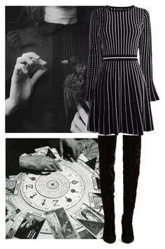 """""""Here we go, time to show my dark side..."""" by zinovyeva ❤ liked on Polyvore featuring Christian Louboutin, Karen Millen and kovacs"""