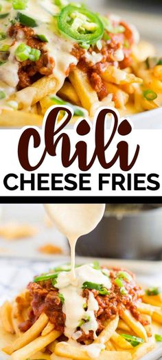 These Chili Cheese Fries are the stuff that dreams are made of! There is a restaurant here in town that makes the most epic chili cheese fries you can imagine. They put this absolutely incredible Cheese Fries Sauce, Chilli Cheese Fries, Chili Cheese Dogs, Cheese Chilli Recipe, Chili Recipes, Sauce Recipes, Yummy Recipes, Cheese Recipes, Cooking Recipes