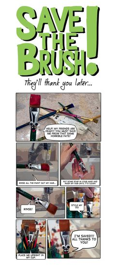 Poster made by pinner to hang above sinks to address my biggest pet peeve - dirty brushes!