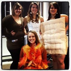 S'mores: This s'mores group costume is complete with a campfire! Source: Instagram user kandyodandy