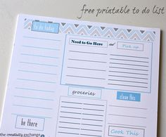 Free printable To Do list {full size or small binder size} from The Creativity Exchange