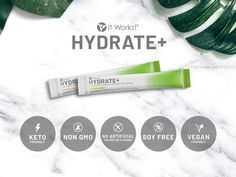 Meet your new gym partner, sidekick, and bounce-back buddy! Hydrate+ promotes faster recovery time while boosting overall wellness, helping you look and feel your hydrated best† - all with less than sugar. Ultimate Body Applicator, It Works Global, It Works Products, Get Healthy, Healthy Nutrition, Fitbit Alta, Weight Loss Goals, Gym Time, Vegan Friendly
