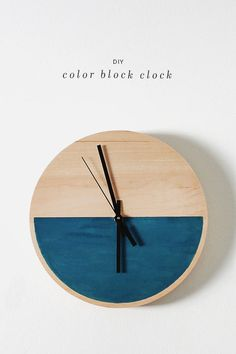 diy color block clock / almost makes perfect