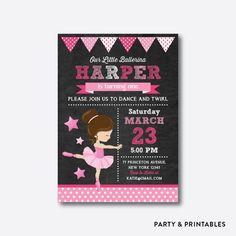 Ballet Chalkboard Kids Birthday Invitation / Personalized (CKB.415)