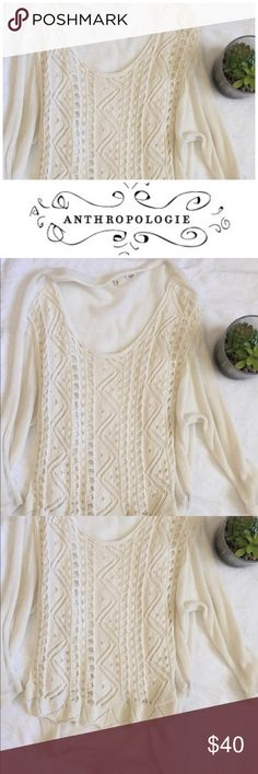 Anthropologie sweater Gorgeous textured sweater with inner lining for layered look and longer back. Sleeves and back are solid texture and design is on the front. Ivory in color. By Moth, for Anthropologie Anthropologie Tops