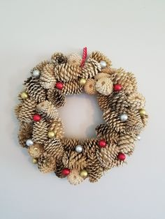 Wreath with bleached pinecones