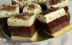 Chocolate Covered Cheesecake Bites- instead of cheesecake do marshmallows and it would be s'mores bites Hungarian Desserts, Hungarian Recipes, Cake Bars, Dessert Bars, Sweets Recipes, Cookie Recipes, Layered Desserts, Just Eat It, Square Cakes