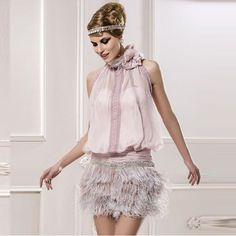 Light Pink Chiffon Vintage Short Cocktail Dresses Lace Halter Sequin Feathers Girls Party Dresses Criss Cross robe de cocktail