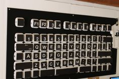 The giant keyboard in the technology lab. A kid favorite! Made from take out boxes.