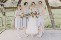 Grey Bridesmaid Dresses Easter Barn Vintage China Wedding http://www.scuffinsphotography.com/