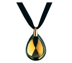 Baccarat Large Psydelic Pendant ~  The Psydelic pendant is exquisitely crafted. The teardrop shape is delicately suspended from a gold link on an adjustable cord. Inspired by the form of the scarab beetle, the pendant is reminiscent of precious amulets from ancient Egypt. The Psydelic pendant is Baccarat's yellow scarabee signature crystal, which shimmers with gray-amber luminescence. Fine layers of metal oxides complete the craftsmanship ~ www.touchofgold.com