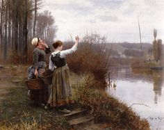 Daniel Ridgway Knight Hailing the Ferry oil painting for sale; Select your favorite Daniel Ridgway Knight Hailing the Ferry painting on canvas and frame at discount price. Renoir, William Adolphe Bouguereau, Art Ancien, Winslow Homer, Knight Art, Winter Painting, Oil Painting Reproductions, Fine Art, Old Master