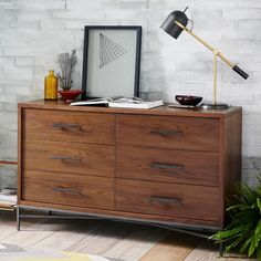 "not sure about the iron base City Storage 6-Drawer Dresser - Walnut | west elm 54""w x 18.5""d x 33""h. $899"