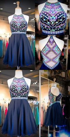 Glittering Halter Beading Short Homecoming Dress homecoming dress,bling…